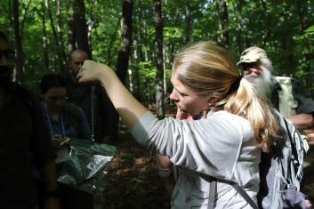 Audrey Weighing a Salamander